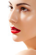 Portrait of beautiful woman purity face with bright lips make-up