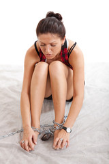 woman tears steel chain