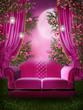 Różowy ogród z kanapą i zasłonami