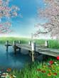 Molo z wiosennymi kwiatami i drzewami