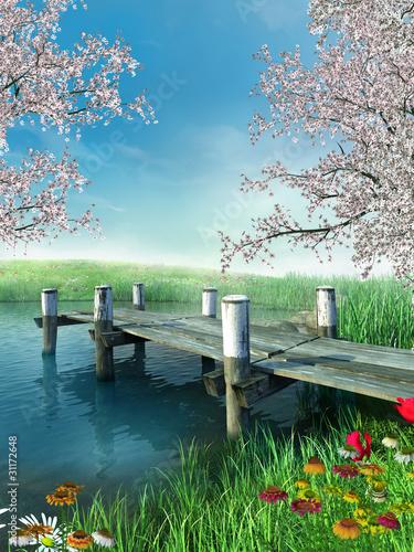 Panel Szklany Molo z wiosennymi kwiatami i drzewami