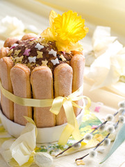 Easter cake with  decorated with butterfly and fresh flower