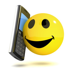 3d Smiley uses a mobile phone