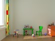 Child room with green furniture