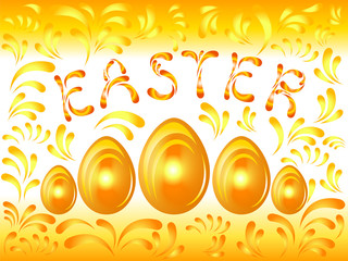 Golden Easter background with eggs and curlicues