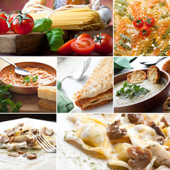 Food collage. Italian first courses collection.