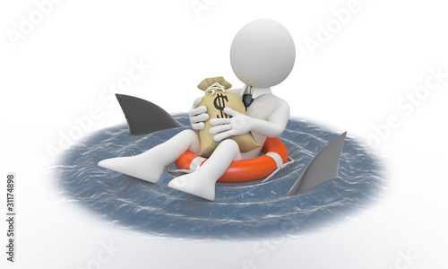 Businessman protecting his money from sharks
