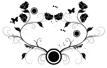 coeur de floral noir