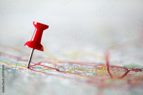 Pushpin on map - 31176649