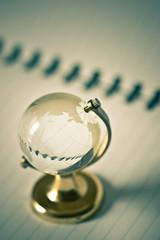 transparent glass globe