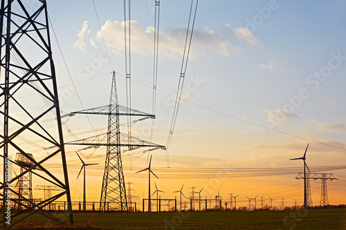 electric power poles and wind engines