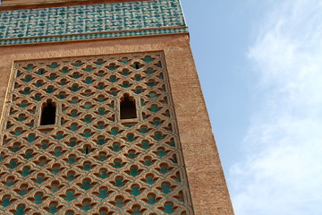 Tower of mosque, Marrakech, Morocco, Africa