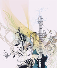 vector girl playing guitar on an abstract floral background