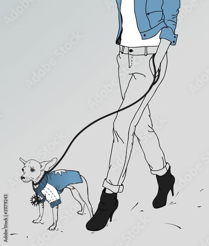vector girl walking wih a little dog - 31179243