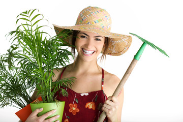 portrait with plant