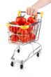 Shopping trolley full of tomatoes on white background