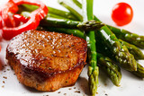 Fototapety Grilled steaks and asparagus