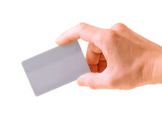 hand with a debit card isolated on white