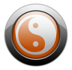 "Orange Metallic Orb Button ""Yin And Yang"""