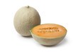 Whole and half Cantaloupe melon