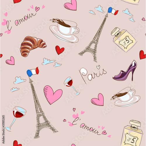 Poster Doodle Paris seamless pattern