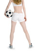 Back view of the girl with soccer ball over white