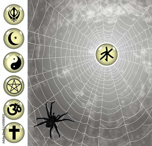 religion icons on the spiderweb