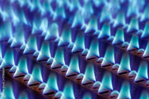 gas flames in a heating installation