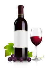 Red wine bottle, glass and grape