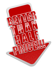 Half price sticker