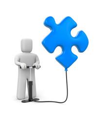 The person pumps up puzzle