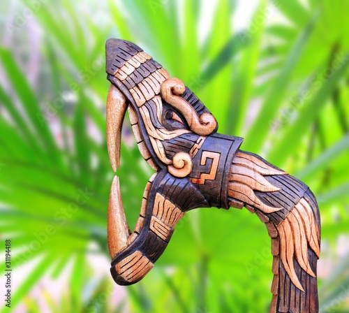 Chichen Itza Snake symbol wood handcraft Mexico