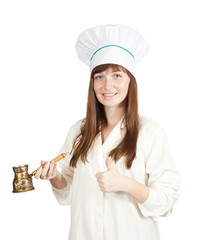 cook woman in toque with  cezve