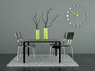 3d Rendering Esszimmer grau grün
