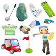 cartoon golf equipment icon