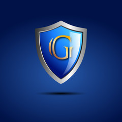 Logo shield initial letter G # Vector