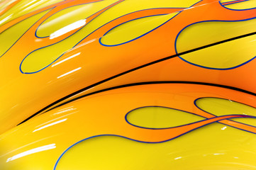 colorful flaming paintwork on a hot-rod hood