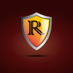 Logo shield initial letter R # Vector