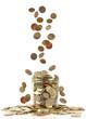 falling coins ito a jar