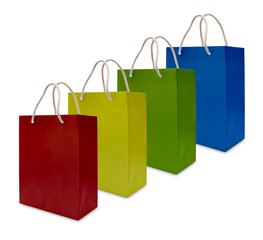 colorful paper shopping bag isolated