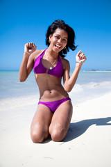 Beautiful caribbean woman enjoying