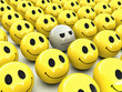 3d Smiley not happy in the crowd