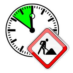 Uhr Arbeit Schild