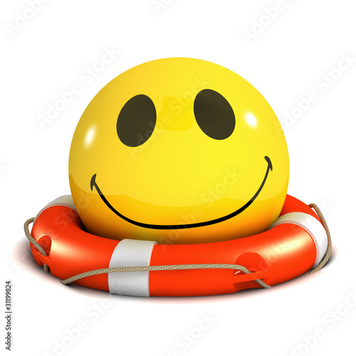 3d Smiley is smiling because he's been rescued
