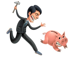 Desperate Businessman is persecuting a Pig full of saved Money