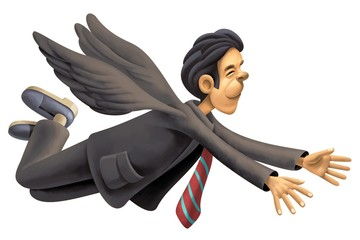 Happy Businessman with wings flying in the Sky