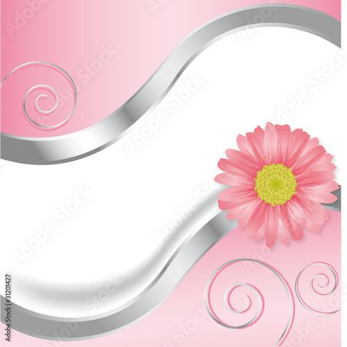 Rosa Blüte mit Wellen und Spiralen