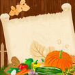Autumn harvest menu for paper grunge