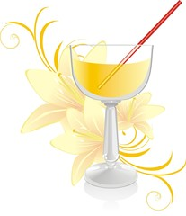 Glass with cocktail and bouquet of lilies. Vector
