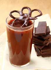 hot chocolate in a glass with chocolate decoration